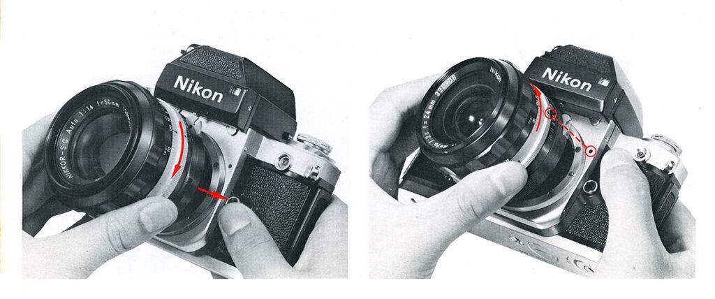 Nikon F2 Changing the lens